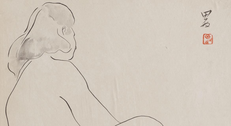 Hua Tianyou (1901-1986). Nu assis de profil. Encre sur papier.1940-1948.