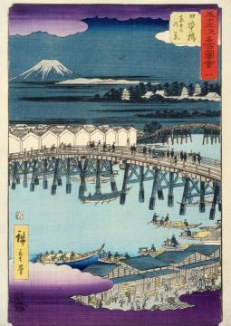 """Ando Hiroshige (1797-1858). """"Cinquante-trois stations du Tokaido (route reliant Edo à Kyoto) : 1ère station, Nihonbashi"""", Japon, époque Edo (1600-1867). Estampe. Paris, musée Cernuschi."""