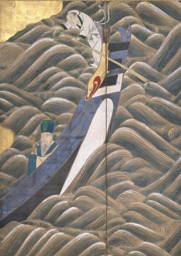Le Poète chinois Bai Juyi (Hakurakuten), Époque d'Edo (1603-1867), XVIIIe siècle, paravent à six panneaux, encre et couleurs  sur papier, collection particulière