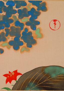 Kamisaka Sekka, Fleurs et plantes des douze mois (détail), entre 1920 et 1925,  deux feuilles d'album d'un ensemble de douze feuilles, encre et couleurs sur soie, Musée Hosomi, Kyōto Ogata Kōrin,
