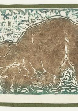 """Pan Yuliang. """"Truie et ses petits"""". Lot de 43 estampages représentant des nus, un enfant, un cheval, une truie, datant de 1952. Paris, musée Cernuschi."""