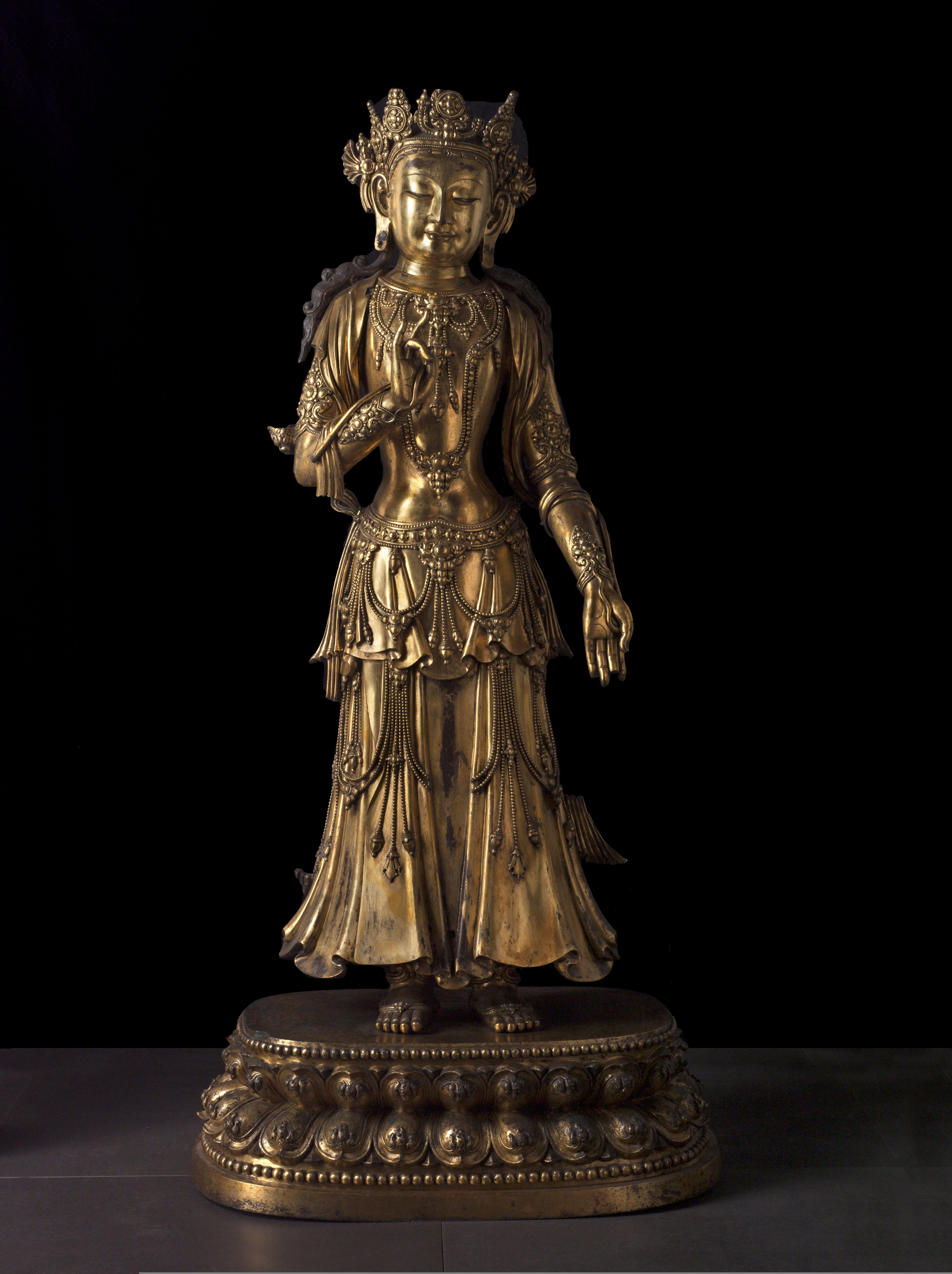 Bodhisattva en bronze doré